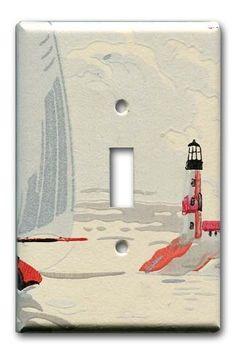 Coastal Lighthouse 1950's Vintage Wallpaper Switch Plate by Fondue, $12.00