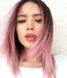 pelo corto con puntas de colores ❥ #PeloCorto ❥ #Rosa