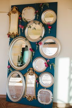Escort display featuring vintage gold ornate frames (Florist: AZ Petal Pusher) - Gem Toned Garden Wedding in Arizona by Outstanding Occasions (Wedding Planners) + Gina Meola Photography - via ruffled