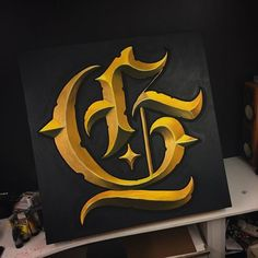 Some progress on the Golden G! First time using acrylics. Calligraphy Tattoo Fonts, Tattoo Fonts Alphabet, Tattoo Lettering Styles, Typography Drawing, Chicano Lettering, Graffiti Lettering Fonts, Calligraphy Drawing, Hand Lettering Alphabet, Lettering Design