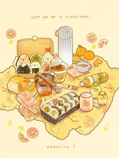 "Nao ☕🌿 on Twitter: ""Promise me for a picnic date?  I'll look forward to it! 🌿🥖👒… "" Arte Do Kawaii, Kawaii Art, Cute Food Drawings, Kawaii Drawings, Cute Food Art, Cute Art, Aesthetic Food, Aesthetic Anime, Food Sketch"