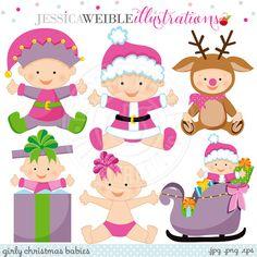 Girly Christmas Babies Cute Digital Clipart por JWIllustrations