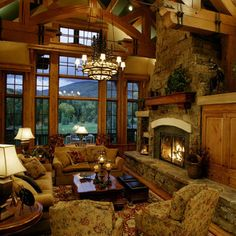 living rooms, fireplac, dream, the view, log cabins, high ceilings, beam, hous, mountain homes