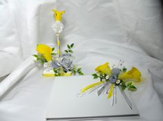 Guestbook Pen Set Gray And Yellow Calla Lily by TheWeddingPetal,