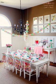 Baking Party. Note the garland made from cupcake liners and doilies...sweet!!  http://happywishcompany.com/