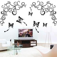 Large Black Flower Vine Butterfly Removable Wall Stickers Decals Mural Art Wall