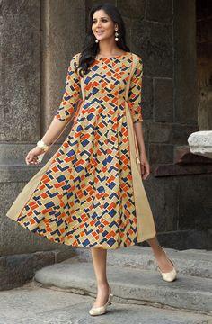 Buy Vastrang Rayon Beige Printed Frock Style Kurti - online in India at best price. Kurta Designs, Blouse Designs, Printed Kurti Designs, Indian Maternity Wear, Frock Style Kurti, Frock Models, Party Wear Kurtis, Kurti Patterns, Kids Frocks