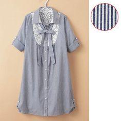 Japanese Online Shop - [IMAGE] Striped Shirt Dress / 2012 Summer, Ladies Fashion, 1/2-Sleeved, A-Line: JSHOPPERS.com