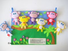 Monkey Felt Board, 5 Little Monkeys Preschool Activity Board. $40.00, via Etsy.