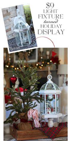 Antiga lanterna transformada em coreto natalino. #holidayglobe #holidaydisplay #lightfixure #lanterna #natal #christmas