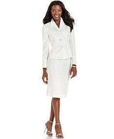 Start the celebration off right with a chic jacquard skirt suit from Le Suit. The subtle pattern gives this sleek look textural appeal.  Polyester  Dry clean  Skirt: back zipper hook-and-eye closure, pencil silhouette $99.99 on sale from $ 200