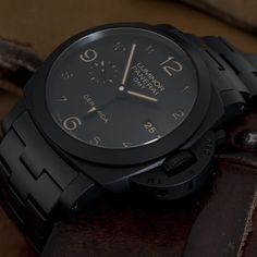 "How could you not love the #Panerai PAM438 Tuttonero. Tuttonero which Means ""All Black"" refers to this black on black full Ceramic GMT. Pic by #PaneraiCentral"
