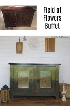 Field of Flowers Buffet | Wise Little Owl Furniture Diy Furniture Projects, Paint Furniture, Repurposed Furniture, Furniture Makeover, Painted Buffet, Dixie Belle Paint, Little Owl, Mineral Paint, Painting Techniques
