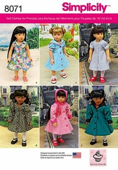 Vintage inspired doll clothes feature flared button front coats and dresses. Coats can have contrast collar and sleeve band. Dresses have trim options. Bonnet included in pattern. Cupcake Cutie Pie for Simplicity. American Girl Outfits, American Doll Clothes, Ag Doll Clothes, Sewing Clothes, American Dolls, 1950s Clothes, Doll Sewing Patterns, Simplicity Sewing Patterns, Doll Clothes Patterns