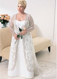 Strapless Satin Lace A-Line Plus Size Long Sleeves Wedding Dress With Appliques