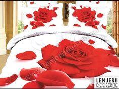 White red rose flower print bedding set sets queen size duvet cover sheets bedspread bed sheet cotton home texile Bed Sets, Bedroom Inspo, Bedroom Decor, Red Rose Flower, Flower Petals, Queen Size Duvet Covers, Bed In A Bag, Bed Covers, Home Textile