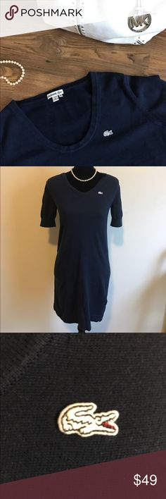 Lacoste T Shirt Dress Navy blue, round neck line. White Lacoste logo. Dress fits a bit above the knee. Lacoste Dresses Mini