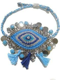 gypsy evil eye macrame bracelet