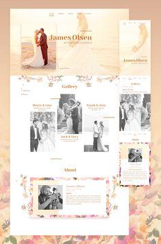 Fullscreen and mobile versions of wedding photographer portfolio website.