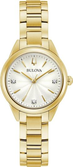 Bulova Watch Sutton Ladies #add-content #allow-discount-yes #basel-20 #bezel-fixed #bracelet-strap-gold-pvd #brand-bulova #case-depth-7-55mm #case-material-yellow-gold-pvd #case-width-28mm #delivery-timescale-call-us #dial-colour-silver #fashion #gender-ladies #movement-quartz-battery #new-product-yes #official-stockist-for-bulova-watches #packaging-bulova-watch-packaging #sale-item-no #style-dress #subcat-sutt Used Watches, Bulova Watches, Authentic Watches, Watch Service, Metal Bracelets, Watch Case, Bracelet Sizes, Stainless Steel Case, Gold Watch