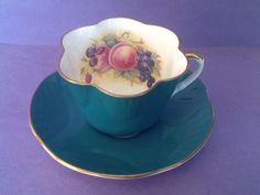 A personal favorite from my Etsy shop https://www.etsy.com/ca/listing/626776455/crown-staffordshire-green-fruit-teacup