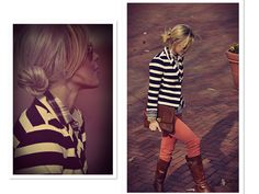 light pants, light jean shirt, black and white striped jacket with brown boots.