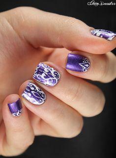 purple baroque nail art #nails #cocosnailss