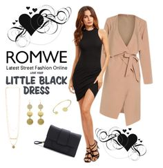 """""""ROMWE: Black Dress"""" by rmhodgdon ❤ liked on Polyvore featuring romwe"""