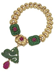 GOLD,  JADE  AND  RUBY  NECKLACE/BROOCH  COMBINATION,  DAVID  WEBB. Photo via Sotheby's.