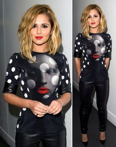 Cheryl Cole, wavy lob. medium-length blonde hair. (her outfit looks like something Dora Maar would have worn)