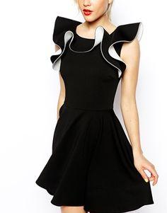 Frill Neck Black Skater Dress