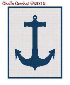 Chella Crochet Navy Naval Nautical Anchor Silhouette Afghan Crochet Pattern Graph