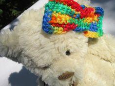 Crocheted Rainbow Hair Barrette Hairbow by crochetedbycharlene, $5.22