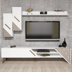 White Tv Cabinet, Modern Tv Cabinet, Modern Tv Wall Units, Tv Cabinet Design, Tv Wall Design, Tv Unit Design, House Design, Ikea Tv Wall Unit, Wall Tv