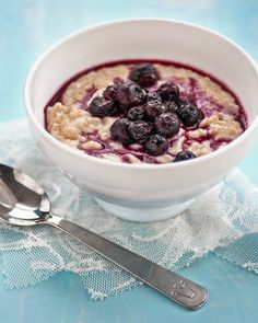Coconut oatmeal with blueberry compote. Use fresh blueberries and leave out the sugar and it should be sweet enough!