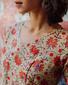 Floral Motif, Floral Tops, Angrakha Style, Stylish Tops For Women, Mirror Work, Kurti, Feminine, Silhouette, Embroidery