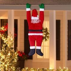 Outdoor Christmas Decoration Hanging Santa Claus Outside Yard Balcony Fun Decor… Más Office Christmas Decorations, Santa Decorations, Diy Christmas Tree, Christmas Door, Simple Christmas, Christmas Lights, Christmas Holidays, Christmas Wreaths, Magical Christmas