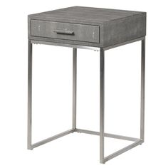This beautiful faux shagreen leather side table would look amazing as your bedside or at the end of a contemporary sofa. Featuring chrome legs and an elegant top featuring lush grey tones and a textured shagreen print, this side table really will add a sp Modern Bedside Table, Bedside Table Design, Bedside Tables, Modern Sofa, Contemporary Furniture, Small Grey Bedroom, Master Bedroom, Side Table With Drawer, Bedroom Furniture Design