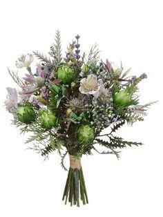 """Nigella/Protea Pod Bouquet 11.5"""" Purple Lavender"""