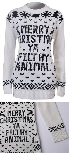 4d6327d3030 Fall to Winter Sweater--------- 37.99 White Snowflake Letter Knitted Sweater  in Stayingsummer!