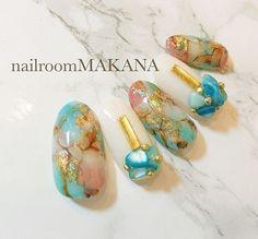 ANF2018新作②-O.C.T-流行りの天然石風オイスターカッパーターコイズを私なりに少し日常に溶け込みやすくカラー配置!すでにサロンワークではバンバン出てます❤︎... ネイルデザインを探すならネイル数No.1のネイルブック Gel Nail Art, Acrylic Nails, Nail Polish, Fancy Nails Designs, Nail Art Designs, How To Make Hair, How To Do Nails, Japanese Nails, Marble Nails