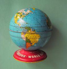 toy metal globe bank, etsy