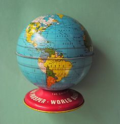 toy metal globe bank, etsy