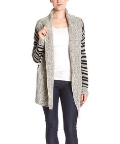 Another great find on #zulily! Gray & Black Stripe Open Cardigan #zulilyfinds