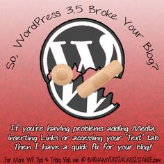 """If WordPress 3.5 """"Broke"""" your blog and you can't add Media, insert Links or access your 'Text' (formerly labeled HTML) tab try this quick fix!"""