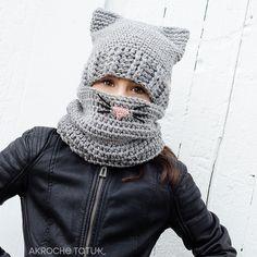 Ravelry: Cat Kit / Ensemble minou pattern by Akroche Tatuk Gato Crochet, Knit Crochet, Crochet Hats, Crochet Winter, Crochet For Kids, Foundation Single Crochet, Bonnet Crochet, Back Post Double Crochet, Cat Hat