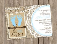 Rustic Baby Boy Shower Invitation over Brown Kraft Paper, Burlap and Lace with Baby Blue Footprints - printable 5x7