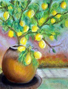 Lemons for Thu by Heidi Mansion Pastel ~ 11 x 14