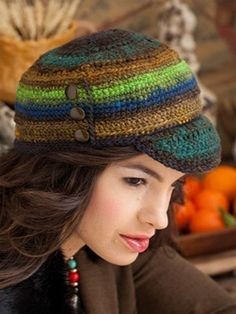 p094 - Engineer Cap from Crochet Noro (Sixth&Spring) in Kureyon #276 Lime, Browns, Black, Navy, at KnittingFever.com
