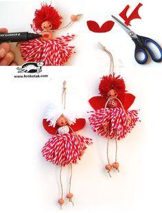 How to Make Yarn Dolls Kids Crafts, Dyi Crafts, Hobbies And Crafts, Yarn Crafts, Arts And Crafts, Diy Yarn Dolls, Diy Doll, Pom Pom Crafts, Christmas Crafts